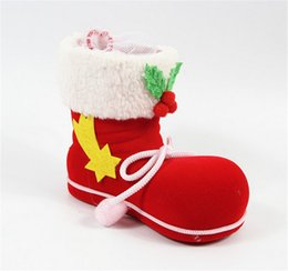 Wholesale Wholesale Boots For Sale - Fashion Christmas Decorations Christmas boots candy box Red Candy Pocket For Children Kids Xmas Gifts Hot Sale