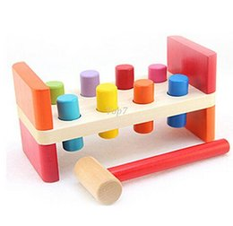 Wholesale Pounding Bench - Christmas gifts Perfect Quality Wooden Pounding Bench With Hammer Kids Baby Preschool Toys