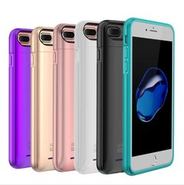 Wholesale External Charge Iphone Bank - DHL free charger case for iPhone 6 6s 7 plus with built-in magnet Ultra Thin Backshell wireless charge case External Battery power bank