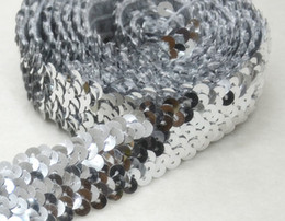 Wholesale Silver Beads For Clothes - 20yard Craft Silver 4 Row Sequin Elastic Trim Braided Trim Bead Trim Decorated Lace Ribbon Trim For Wedding Dress Clothes t362