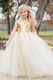 Wholesale Toddler Tutu Dress Sequins - Gold Sequins Flower Girl Dresses for Wedding With Jewel Neck Tutu Birthday Baby Infant Toddler Pageant Dress First Communion Dresses