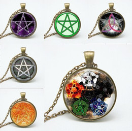 presentes ocultistas Desconto Novos estilos de personalidade da Moda Pentagrama Wicca pingente de vidro Colar Occult charme colares pingentes N150-155 presente atacado