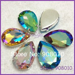 Wholesale Siam Fancy Stone - Wholesale-20x30mm Teardrop Glass Crystal Fancy Stone In Silver Claw Setting Aquamarine Lt Siam Green Pink Topaz Jet Black AB Color