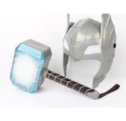 mask action Promo Codes - Newest The Avengers Alliance LED Glowing And Sounding Thor's Hammer LED Mask Thor Action Figures Cosplay Kids Brinquedos Gift
