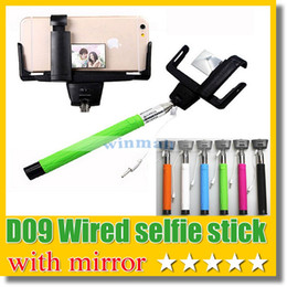 Wholesale Smartphone Android Aluminum - D09 Wired Selfie Monopod with rear mirror Selfie sitck + Clip Holder built-in remote button for iPhone 6 plus IOS Android Smartphone