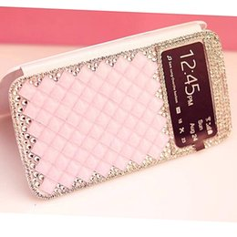 """Wholesale Battery Case 4s - Luxury Diamond Rhinestone Leather Case with Open Window Battery Door Back Cover For Iphone 6 4.7"""" 6 plus 5.5"""" Iphone 4s 5s Cell Phone cases"""