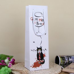 Wholesale Wholesale Holiday Wine Bags - Cartoon Cat Gift Hand Bag with Greeting Card Birthday Party Gift Pack Wine Bottle Bag Christmas Gift SD797