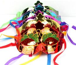 Wholesale Masquerade Party Props - 25pcs lot paintball mask gold shining plated party masks darth vader props masquerade mardi gras mask ghhdf masks