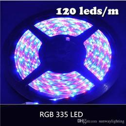 Wholesale Glue Led Strip - NEW RGB COLOR SMD 335 LED Strip Light DC12V 5M Glue Waterproof IP65 120leds m 600leds Totally Side Emitting Lighting