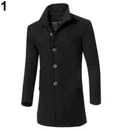 Canada Vente en gros - Mode homme slim fit coupe-vent long manteau coupe-vent revers bouton veste supplier large lapel button Offre