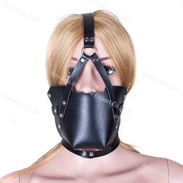 Wholesale Trainer Ball Gag Harnesses - Leather Mouth Mask Harness Bondage Ball Gags Slave Trainer Master Adult Sex Products Toys