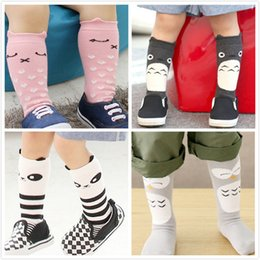 Wholesale Totoro Girl - Fashion new korean style children cotton socks girls star stripe long socks neighbor totoro panda and rabbit kids socks A6408