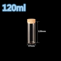 Wholesale Tube Glass Bottle Cork - Wholesale- 47*120mm 120ml Glass Bottles Vials Jars Test Tube With Cork Stopper Empty Glass Transparent Clear Bottles 12pcs lot