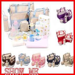 Wholesale Bebe Bags - 5 Pcs Mother Bag Baby Bags Multifuctional Mummy Babies Diaper Bags Stroller bolsa de bebe Waterproof Zip Bagcarrinhos de bebe