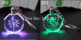 Wholesale League Legends Crystal Keychain - 2014 LOL Key Ring League Of Legends 262 Heros Crystal Flash LED Light Keychain WITH BATTERY & GIFT BOX