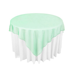 """Wholesale Crochet Round Cloths - Mint Green Organza Table's Overlay Table Cloth 72""""X72"""" Wedding Supply Party Sheer Colors New -OCL"""