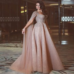 Wholesale vintage dress jacket - Shining Luxury Beads Crystals Long Evening Dresses Said Mhamad 2018 Newest Party Prom Celebrity Gowns Floor Length Arabic Dresses with Cape