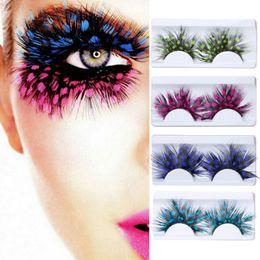 Wholesale Colorful False Feather Lashes - Colorful Fashion 3D Eye Makeup False Eyelashes Exaggerated Stage Art Fashion Fake Eyelashes Orange Feathers Makeup Lashes Dropshipping
