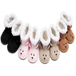 Wholesale Snowboots Boys - 4 Colors Cartoon Baby boots Shoes Winter Newborn Baby Boys Girls Animal Cat Ear Cute Snowboots