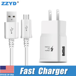Wholesale Micro Usb Cable Wall - ZZYD Fast wall charger kit 2.1A Travel EU US Charger Plug 1.5M Micro USB Cable for Samsung S7 S6 S8 note5