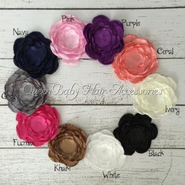 Wholesale Hair Clip Craft Flower - Fabric Handmade Flowers Satin Layered Flowers For Hair Accessories DIY Crafting Without Clips Falt Back 50pcs lot