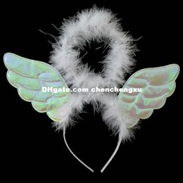Wholesale Catwalk Dresses Wholesale - Party Christmas COS headdress Halloween dance catwalk models accessories angel with wings wreath head ring Bar Christmas dress up dresses