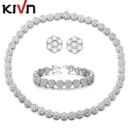 Wholesale Necklace Sparkling Earrings - KIVN Wedding Sets-KIVN Fashion Jewelry Sparkling Flower CZ Cubic Zirconia Jewelry Bridal Sets for Women Birthday Christmas Gift