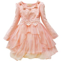 Wholesale American Lantern Lighting - Autumn Spring Children Dress Korean Lace Collar Girls Lace Dress Princess Dress 2-7Year Kids Clothing 5p l