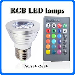 Wholesale 4w Rgb E27 Remote - New Style RGB led lights 16Color Change led bulbs E27 LED 4W Spotlight AC 85V-265V for Home Party Decoration light with IR Remote