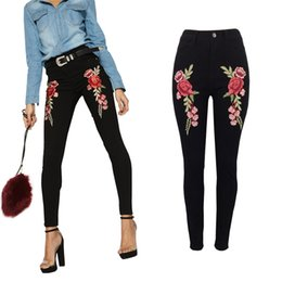 Wholesale Big Beautiful Clothing - Embroidered jeans Female High Waist Jeans Denim Pants Womens Skinny Trousers Beautiful Clothing Big Size S ML XL XXL Black New Fashion