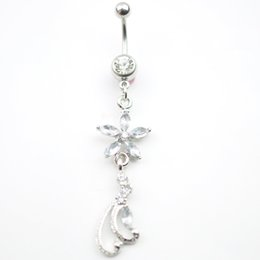 Wholesale 0137 Nice style Navel belly ring CLEAR color stone drop shipping