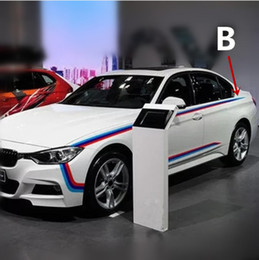 Wholesale rally sticker - Car    Sport 3 colors strips Rally side Racing Motorsport vinyl stickers for BMW 4 series F32 M4 Coupe waistline decal sticker