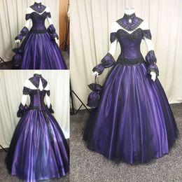 Wholesale Gothic Vampire Vintage - Black Purple Gothic Wedding Dresses 2018 Custom Make Plus Size Vintage Steampunk Victorian Halloween Vampire Wedding Gowns with Choak