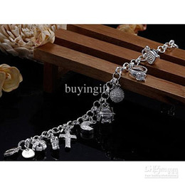 Wholesale Swarovski Crystal Necklaces Cheap - Super beautiful high-quality 925 Silver Swarovski Elements Crystal fashion charm cross star lovely bracelet Cheap jewelry Holiday gifts H144