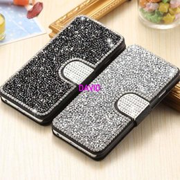 Wholesale Diamond Leather Flip Phone Cover - I6 Plus Bling Cases Full Body Diamond Crystal Mobile Phone Case For iPhone 6 Plus   6S Plus Magetic Flip Card Slot Cover Fashion