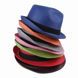 Wholesale Pink Select - Wholesale-2015 New Fashion Casual Unisex Candy Color Select Sun Beach Hats Summer PP Straw Caps For Men and Women ECP Free Shipping