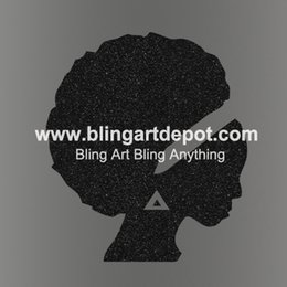 Wholesale Custom Iron Transfers Wholesale - Iron On Afro Girl Heat Transfers Glitter Vinyl Hotfix Vinyl Motifs For Clothes Decoration Custom Design Available