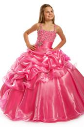 Gli angeli perfetti 1417 bambine rosa calde pageant veste la ragazza di fiore dei paillettes i vestiti dal vestito dai bambini del vestito dai bambini dell'abito di sfera da abiti da sposa rosa caldo abito da sera fornitori