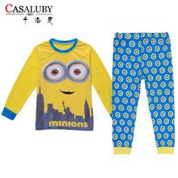 Wholesale Minion Baby Pajamas - 60pcs lot Hot sale Baby boys girls cotton long sleeve Christmas sleepwear minions striped pants pajamas outfits for children