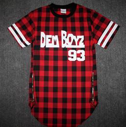 Wholesale Tyga T Shirts - Wholesale-Kanye West Style Tyga Cool Oversized Gold Side Zipper T-Shirt Men Hip Hop Extended Red Tartan Plaid T Shirt Hba Pyrex Shirt