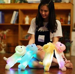 Wholesale Wholesale Cute Dolls - 35cm Plush Dog Led Glow Light Night Stuffed Animals Lovely Creative Cute Soft Doll Puppy Dogs OOA3646