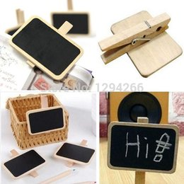 Wholesale Blackboard Chalk Holder - Wholesale-1PCS Free Shipping Lovely Wooden Mini Blackboard Message Memo Note Holder Board Chalk eq07