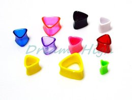Wholesale Triangle Flesh Tunnel - Free Shipping Triangle Flesh Tunnel Ear Plugs Mixed color Fashion Body Piercing Jewelry 100pcs lot Newest style Earring 6 - 4mm