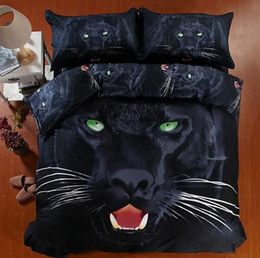 Wholesale King Size Panther Bedspreads - 3D Black panther bedding set super king size queen fitted cotton bed sheets quilt duvet cover double bedspread animal print 5pcs