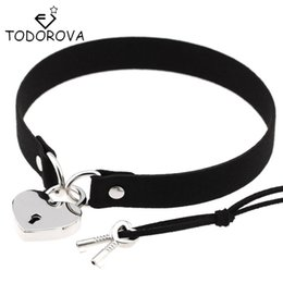Wholesale Lock Pendant Necklace - Wholesale- Todorova Gothic Punk Harajuku Heart Lock Velvet Leather Choker Necklace Choker Collar with Key Jewelry for Women Accessories
