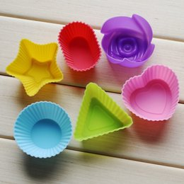 Wholesale Silicone Rose Cake Mold - Baking Moulds Silicone Cake Muffin Chocolate Cupcake Case Tin Liner Baking Cup Mold Mould Rose star heart flower sharps free DHL