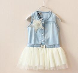 Wholesale Cotton Denim Girls Dress - Retail Girls Summer Dress Girl Denim Pentagram Flower Gauze Sundress 2-7Y 305673