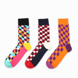 Wholesale Pure British - Wholesale- 6 colors British style Plaid socks Style men sock Pure Cotton women Men's Happy socks EUR36-43