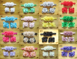 Wholesale New Lace Headbands - 2015 New Childrens Hair Accessories Set Baby Girls 16 Colors Fashion Sweet Headband Set Chiffon Hair band+foot flower 3 Pieces of 1lot B001