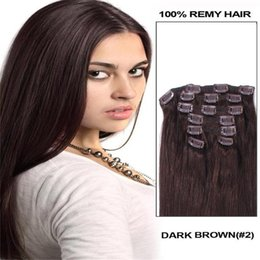 """Wholesale Darkest Brown Clip Hair Extensions - 26"""" 100% remy Human Hair CLIP IN HAIR EXTENSION Straight DARKEST BROWN #2 32""""&70g 7PCS 5sets lot"""